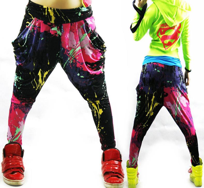 BAREVNÉ dámské harem hip hop kalhoty  f292a8619f